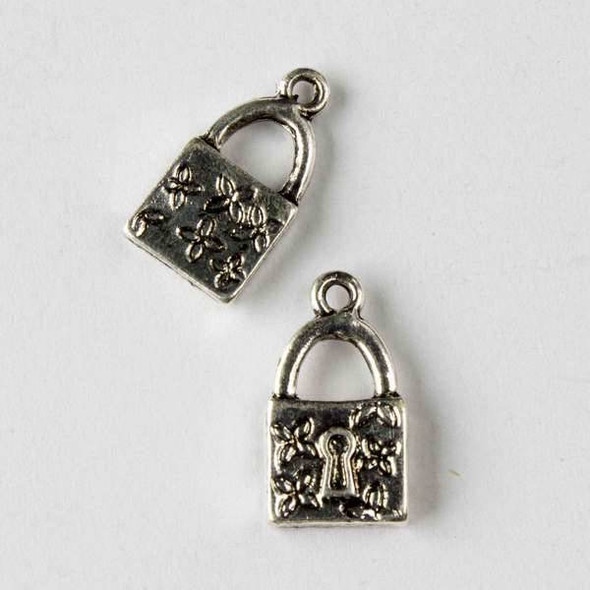 Silver Pewter 10x18mm Flowered Padlock Charm - 10 per bag
