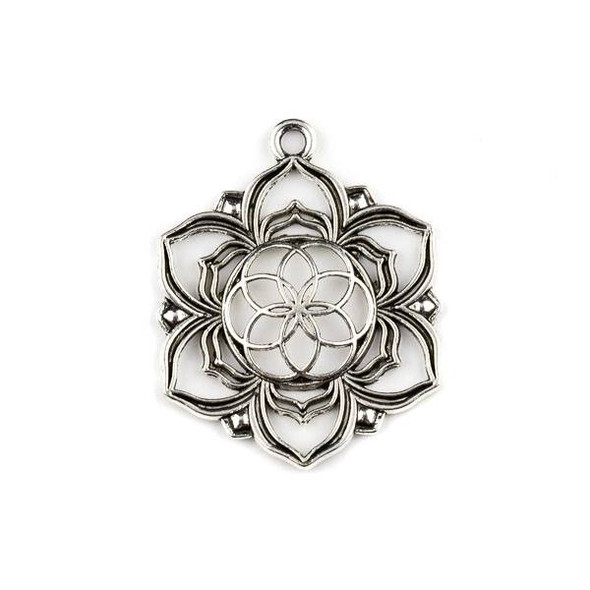 Silver Pewter 35x43mm Flower of Light Medallion Pendant - 1 per bag
