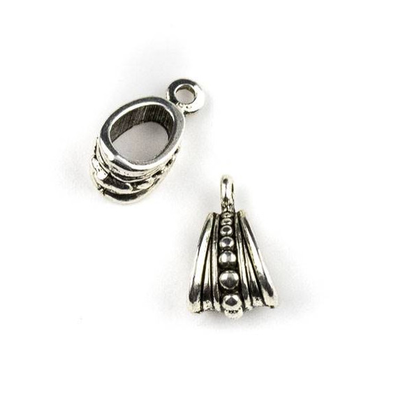 Silver Pewter 9x15mm Pendant Bail with Dotted Stripe - 4 per bag