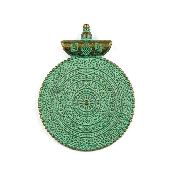 Green Bronze Colored Pewter 40x52mm Roman Style Medallion Pendant - 1 per bag