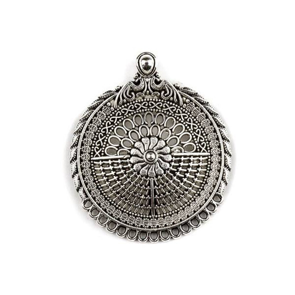 Silver Pewter 39x46mm Baroque Style Medallion Pendant with Loops for Dangles - 1 per bag