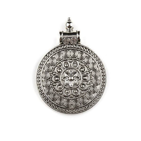 Silver Pewter 36x49mm Indonesian Style Medallion Pendant - 1 per bag