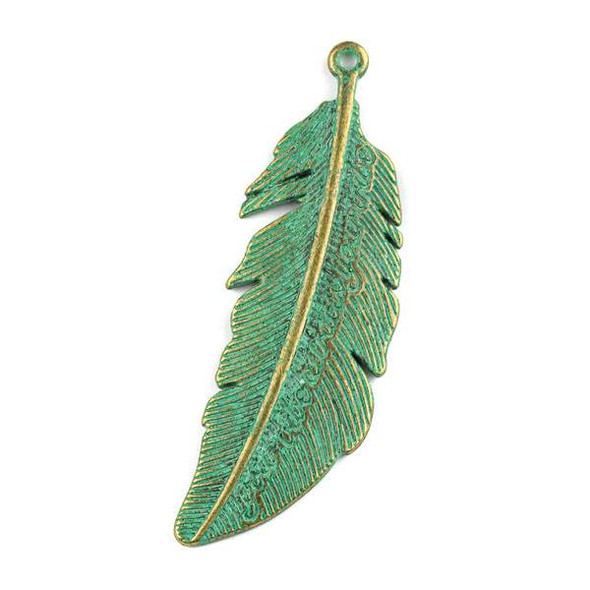 "Green Bronze Colored Pewter 21x65mm ""Your Vibe Attracts Your Tribe"" Feather Pendant - 1 per bag"