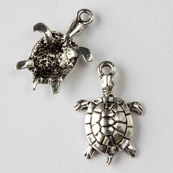 Silver Pewter 12x27mm Sea Turtle Charm - 10 per bag