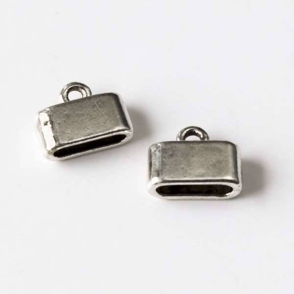 Silver Pewter 10x13mm Flat Cord Ends with a 2x9mm Large Hole - 10 per bag - CTB43327s