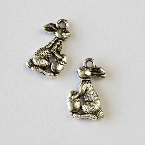Silver Pewter 10x17mm Easter Bunny with Egg Charm - 10 per bag