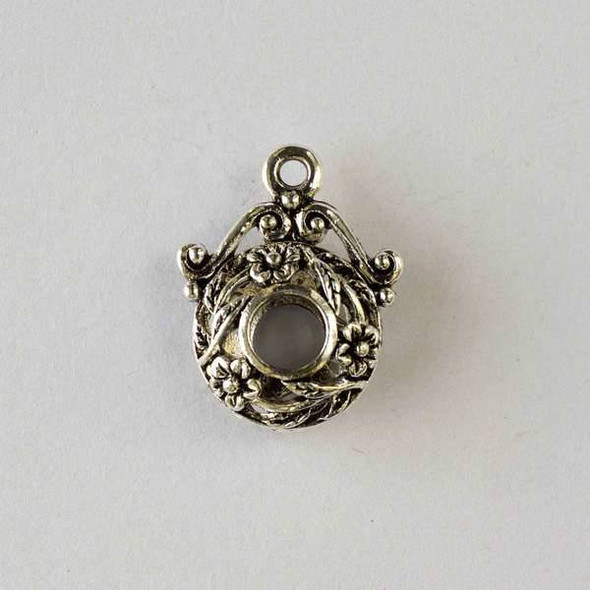 Silver Pewter 19x24mm Hollow Puff Coin Pendant with Center Hole and Flowers - 2 per bag