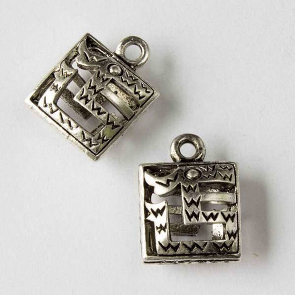 Silver Pewter 14x19mm Square Hollow Aztec Charm - 10 per bag
