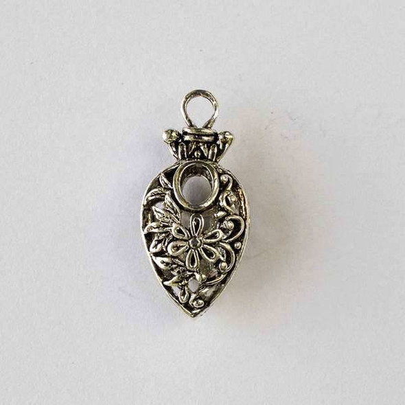 Silver Pewter 13x27mm Hollow Inverted Teardrop Pendant with Flower Design - 2 per bag