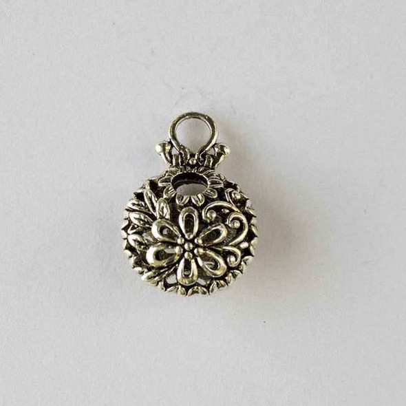 Silver Pewter 16x23mm Hollow Puff Coin Pendant with Flower and Leaves - 2 per bag