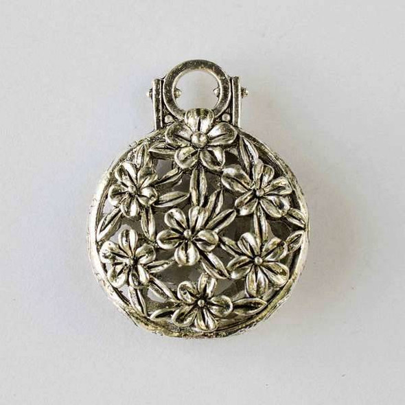 Silver Pewter 31x39mm Hollow Puff Coin Pendant with Flowers - 1 per bag