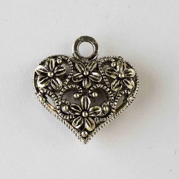 Silver Pewter 33x34mm Hollow Puff Heart Pendant with Flowers - 1 per bag