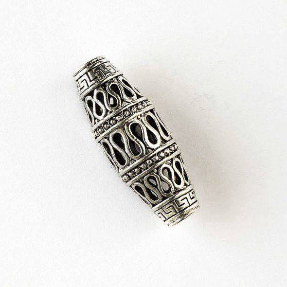 Silver Pewter 13x24mm Hollow Tube Pendant or Centerpiece with Egyptian Design (no bail) -  1 per bag