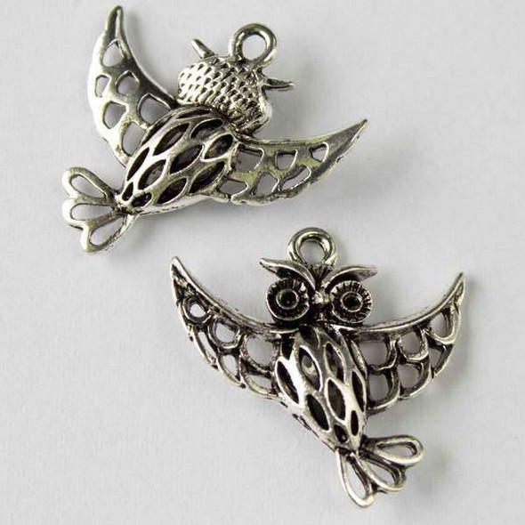 Silver Pewter 25mm Hollow Owl with Wings Spread Charm - 2 per bag