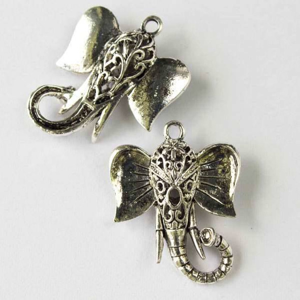 Silver Pewter 23x30mm Elephant Head Charm - 2 per bag