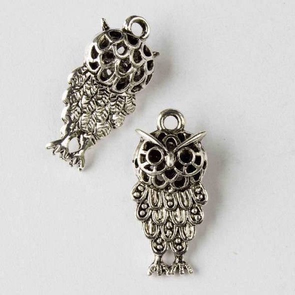 Silver Pewter 12x25mm Hollow Owl Charm - 2 per bag