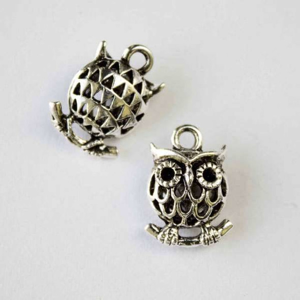 Silver Pewter 11x16mm Hollow Owl Charm - 4 per bag