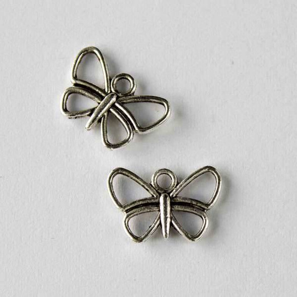 Silver Pewter 11x16mm Butterfly Charm - 10 per bag