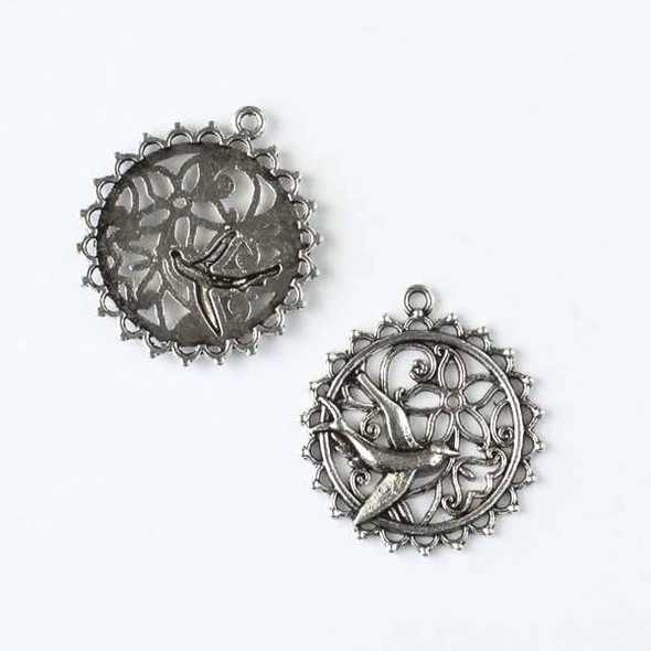 Silver Pewter 29x32mm Coin Pendant with Bird and Cut Out Flower - 6 per bag