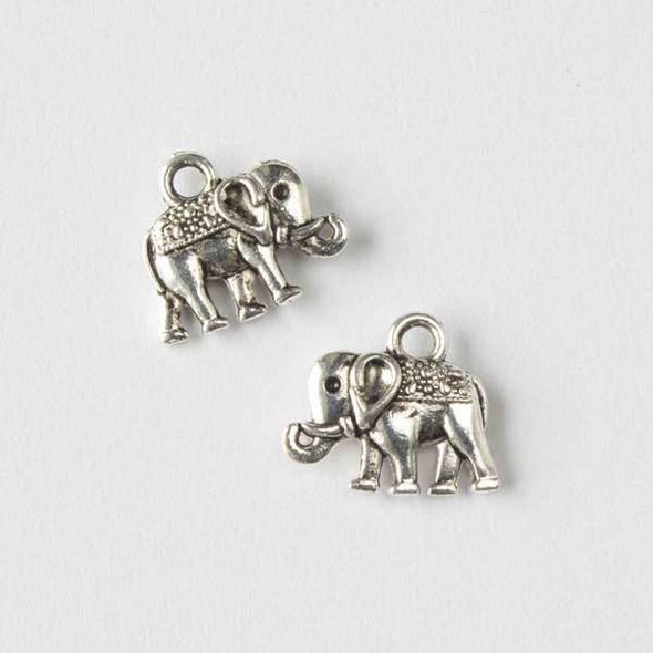 Silver Pewter 12x14mm Elephant Charm - 10 per bag