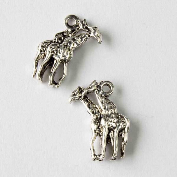 Silver Pewter 11x19mm Giraffe Pair Charm - 10 per bag