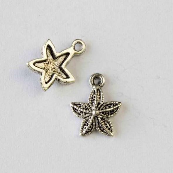 Silver Pewter 12x15mm Starfish Charm - 10 per bag