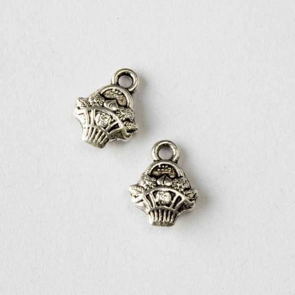 Silver Pewter 10x14mm Flower Basket Charm - 10 per bag