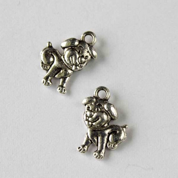Silver Pewter 11x16mm Puppy Dog Charm - 10 per bag