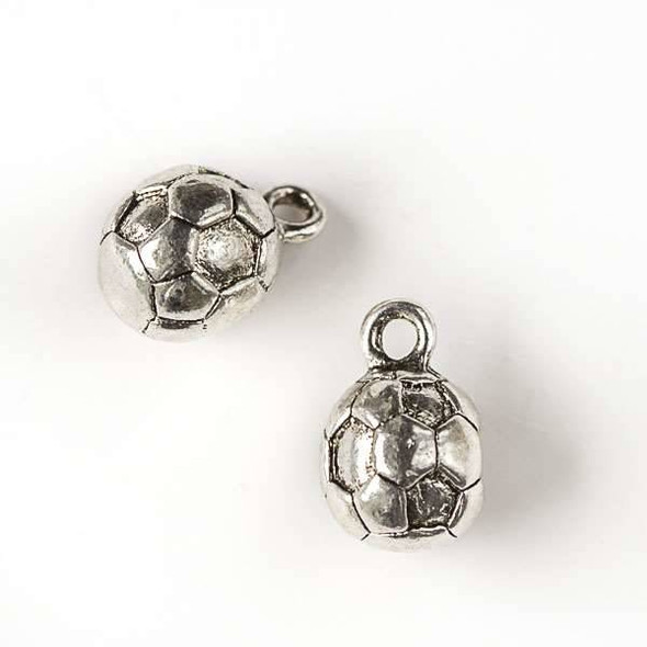 Silver Pewter 10x15mm Round Soccer Ball Charm - 8 per bag