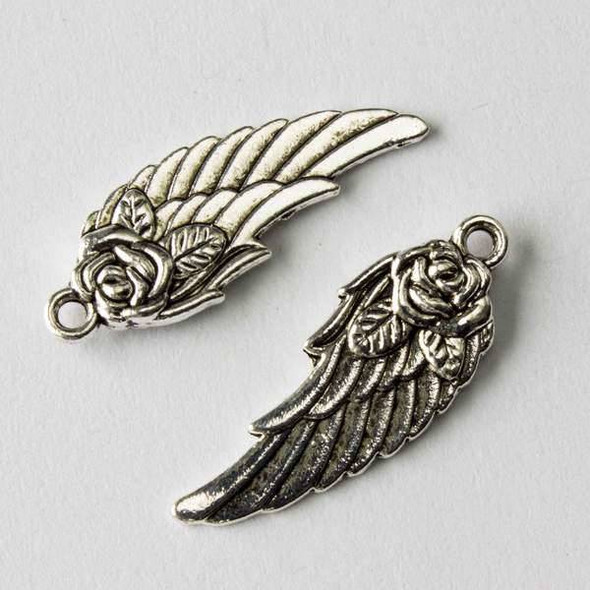 Silver Pewter 12x31mm Wing with Rose Charm - 10 per bag