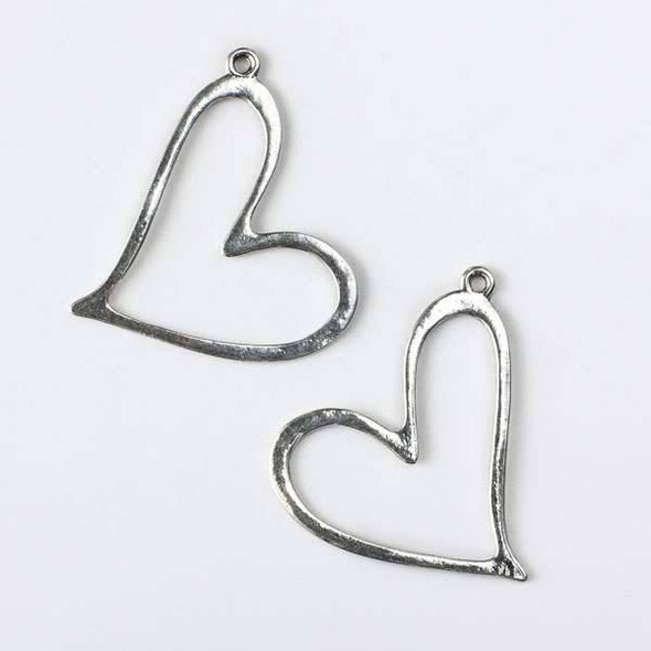 Silver Pewter 39x43mm Heart Pendant - 4 per bag