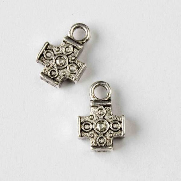 Silver Pewter 11x16mm Coptic Cross Charm - 10 per bag