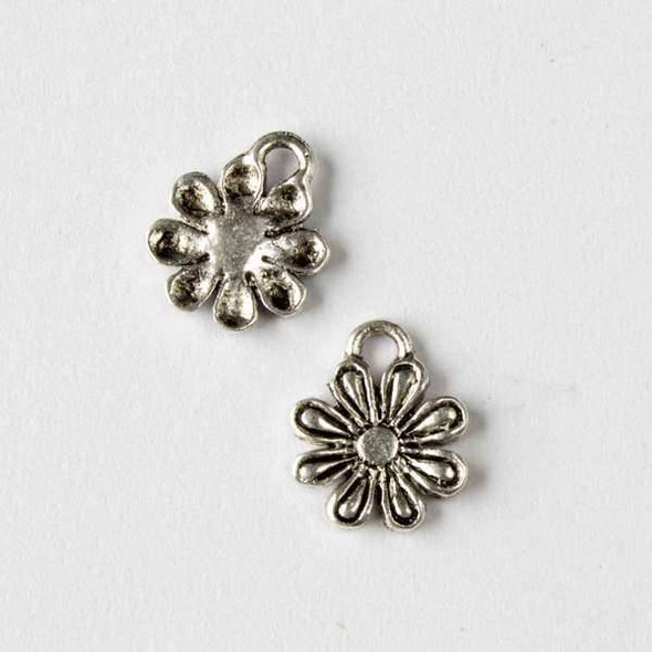 Silver Pewter 12x14mm Daisy Flower Charm - 10 per bag