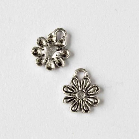 Silver Pewter 12x14mm Daisy Flower Charm - 10 per bag