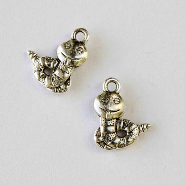 Silver Pewter 13x16mm Silly Caterpillar Charm - 10 per bag