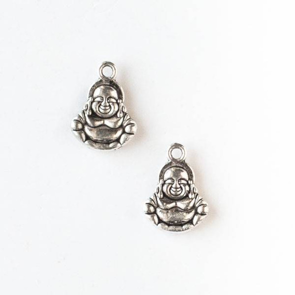 Silver Pewter 10x14mm Happy Buddha Charm - 10 per bag