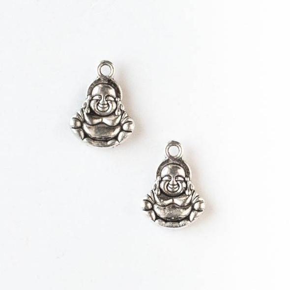 Silver Pewter 10x14mm Happy Buddha Charm - 10 per bag