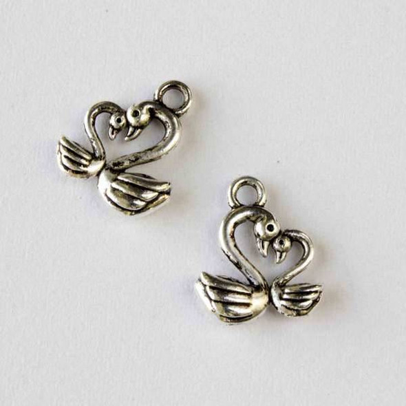 Silver Pewter 13x15mm Swans in Love Charm - 10 per bag