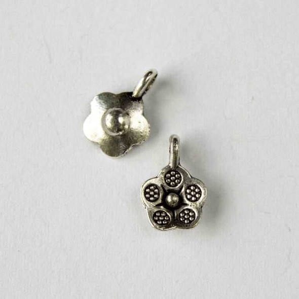 Silver Pewter 10x14mm Thai Style Flower Charm - 10 per bag