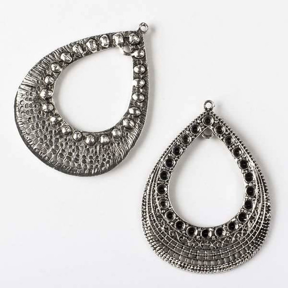 Silver Pewter 43x57mm Teardrop Earring Drop - 2 per bag - CTB60349s