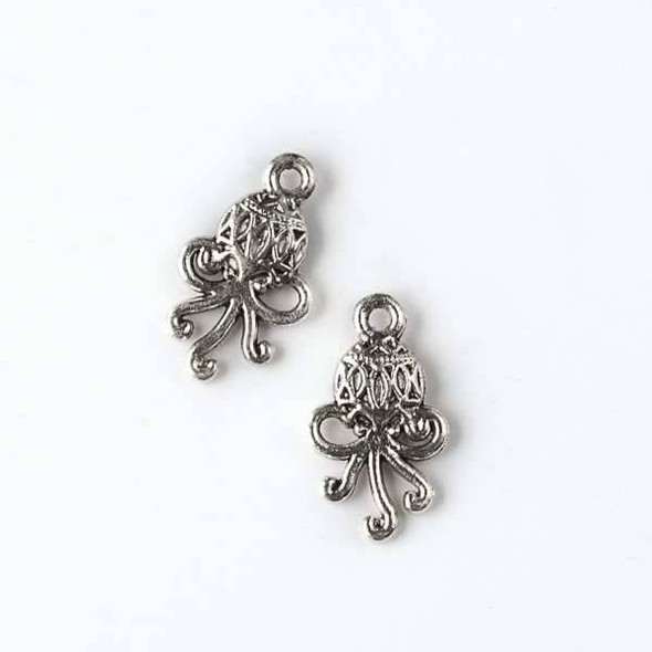Silver Pewter 11x19mm Octopus Charm - 10 per bag