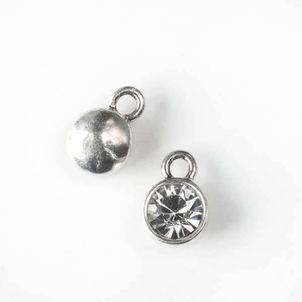 Silver Pewter 10x15mm Bezel Coin Drop with Rhinestone - 6 per bag - CTB61511s
