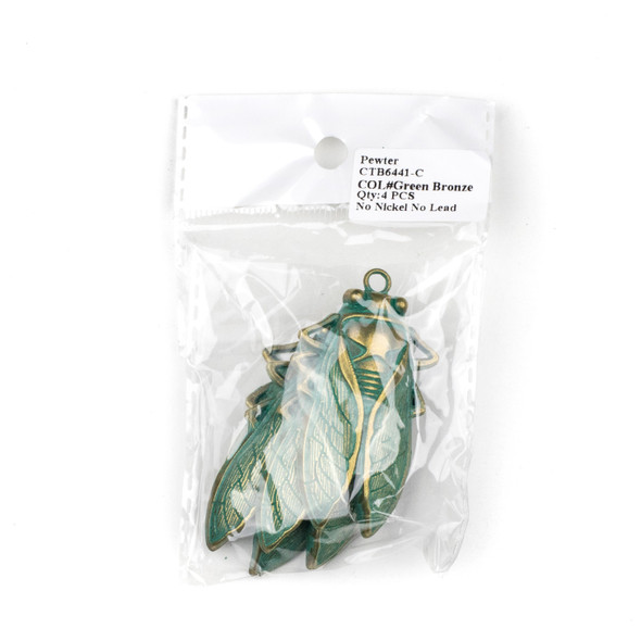 Green Bronze Colored Pewter 33x61mm Cicada Bug Charm - 4 per bag