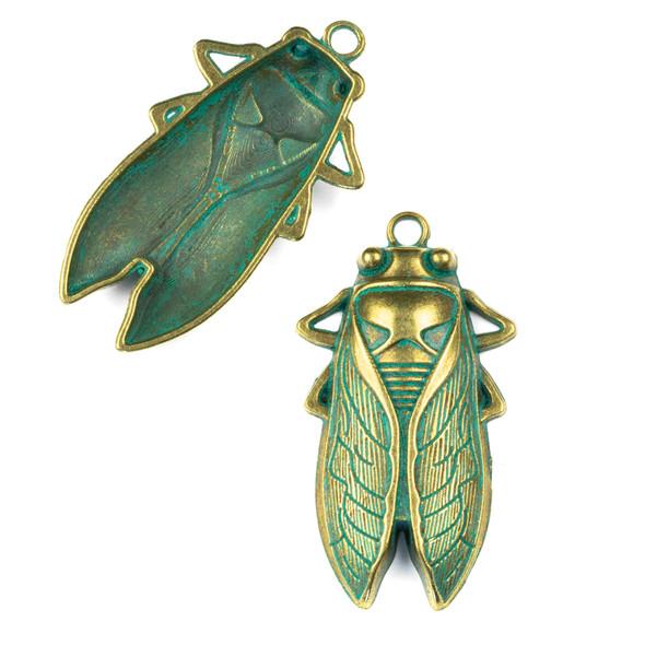 Green Bronze Colored Pewter 33x61mm Cicada Bug Charm - 4 per bag