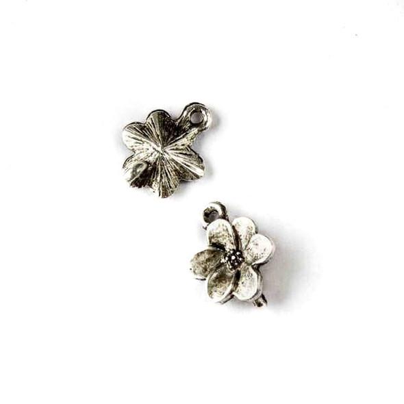 Silver Pewter 10x12mm Dogwood Flower Charm - 10 per bag
