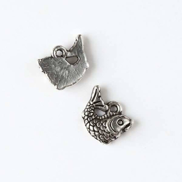 Silver Pewter 10x12mm Right Facing Koi Fish Charm - 10 per bag