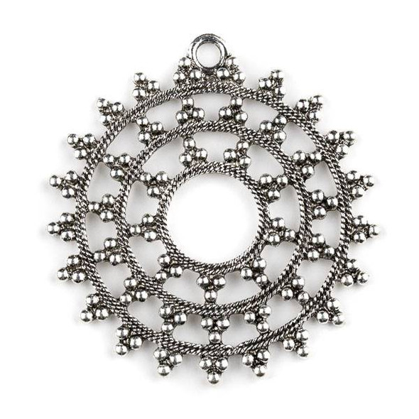 Silver Pewter 57x60mm Thai Style Open Dotted Medallion Pendant - 1 per bag