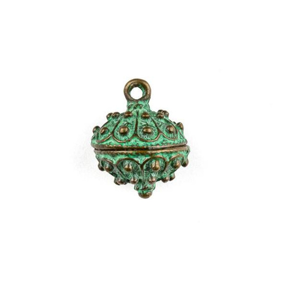Green Bronze Colored Pewter 16x20mm Bali Style Dotted Bauble Charm - 1 per bag
