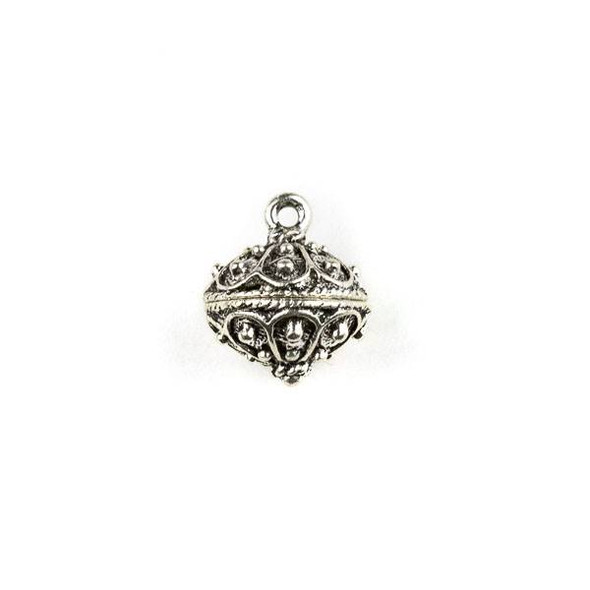 Silver Pewter 13x15mm Small Bali Style Dotted Bauble Charm - 1 per bag
