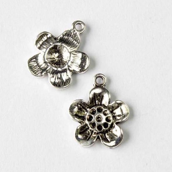 Silver Pewter 15x18mm Poppy Flower Charm - 10 per bag